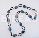 39 inches 18*25mm blue agate long style necklace