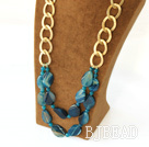 fashion blue agate necklace with golden color metal chain under $ 40