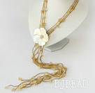 fashion citrine and shell flower Y shaped long necklace under $ 40