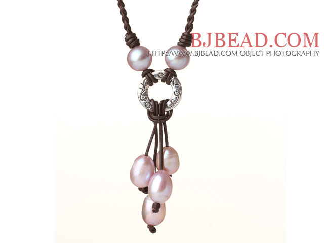 Fashion Style Natural Purple Freshwater Pearl Hand-knitted Leather Pendant Necklace
