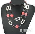 fashion long style white and red shell necklace with big matel loops