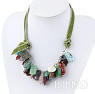 Assorted Multi Color Multi Stone Necklace with Green Ribbon under $14