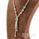 white pearl and green rutilated quartz Y shaped necklace under $ 40