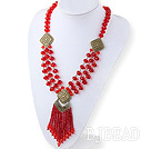 Fashion Style Red Crystal Tassel Necklace with Bronze Accessories under $ 40