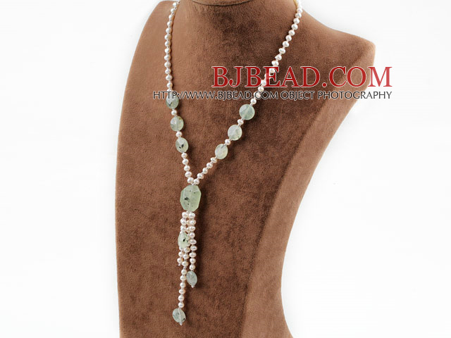 white pearl and green rutilated quartz Y shaped necklace