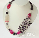 amethyst and pink agate necklace with lobster clasp under $30