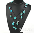 47 inches black pearl and turquoise long style necklace