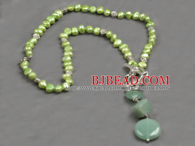 green pearl and aventurine Y shaped necklace