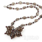 Garnet and Smoky Quartz Flower Necklace under $14