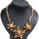 Gorgeous Party Style Yellow Natural Freshwater Pearl Orange Crystal Flower Bib Necklace
