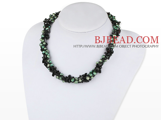 brand new multi strand green pearl and agate beaded necklace