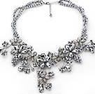 2013 Summer New Design Plated Silver Color Crystal Flower Necklace