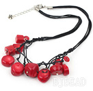 fashion red coral necklace with lobster clasp