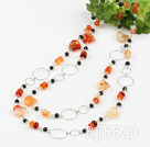 black pearl and natural agate long sytle fashion necklace