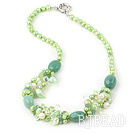 17.5 inches pearl crystal and turquoise necklace with moonlight clasp