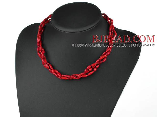 18 inches 3 strand coral neklace with lobster clasp