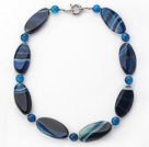 17.5 inches 10*46mm blue agate necklace with moonlight clasp