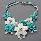 2013 Summer New Design Turquoise and Howlite and White Shell Flower Necklace