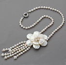 2013 Summer New Design White Freshwater Pearl and Shell Flower Tassel Necklace