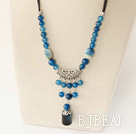 18.1 inches popular blue agate neckalce with extendable chain