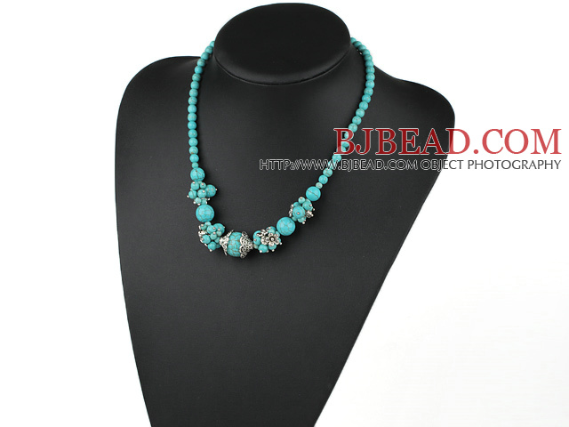 18 inches fashion turquoise neclace with lobster clasp