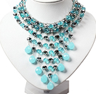 Amazing Blue and Gray Teardrop Crystal Tassel Party Necklace under $ 40