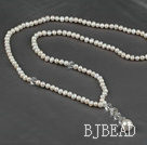 double double strand natural white pearl crystal necklace under $14
