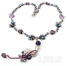 fashion style pearl and amethyst necklace