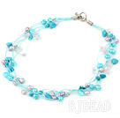 multi strand white pearl crystal and turquoise necklace with toggle clasp
