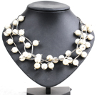 Trendy Style Multi Strand White Seashell Beads Twisted Necklace With Bending Alloyed Tube