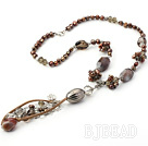 dyed pearl crystal and gray agate necklace with lobster clasp