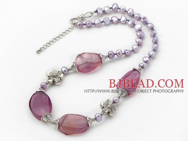 Dark Purple Pearl and Purple Stripe Agate Necklace