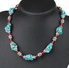 18 inches blue turquoise and red alaqueca necklace with moonlight clasp