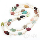 83 inches pearl and seven colored stone long style necklace