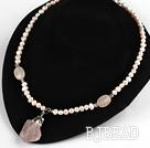 Pink Freshwater Pearl Necklace with Rose Quartz Pendant ( Irregular Shape )