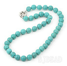 17.5 inches 10mm blue turquoise beaded necklace with moonlight clasp under $ 40