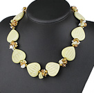 18 inches pearl crystal and lemon stone necklace with moonlight clasp