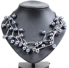 Trendy Style Multi Strand Dark Gray Seashell Beads Twisted Necklace With Bending Alloyed Tube