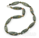 17.5 inches green piebald stone and peacock stone necklace with lobster clasp