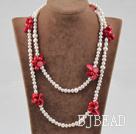 white pearl and red coral long style necklace