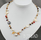 hot irregular shape fresh water pearl crystal necklace