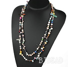 fashion long style fresh water pearl and multi color stone necklace