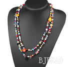 fashion long style dyed colorful pearl shell crystal necklace under $7