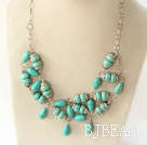 19.5 inches burst pattern turquoise necklace with metal chain under $ 40