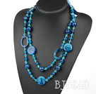 blue crystal and agate long style necklace
