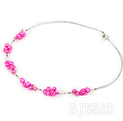 4-7mm dyed pink pearl necklace with lobster clasp