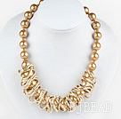 17.5 inches fashion seashell beads necklace with magnetic clasp