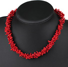 classic jewelry double strand 6m red coral necklace with box clasp