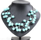 Trendy Style Multi Strand Sky Blue Seashell Beads Twisted Necklace With Bending Alloyed Tube