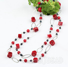 51 inches coral and pearl long style necklace